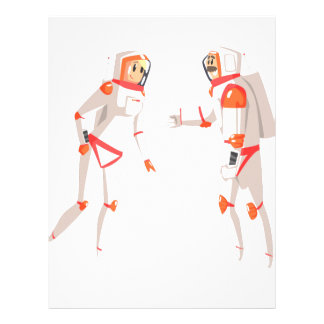 Two Astronauts In Space Suits Chatting On Dark Letterhead