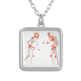 Two Astronauts In Space Suits Chatting On Dark Silver Plated Necklace
