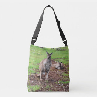Two Aussie Kangaroos, Full Print Cross Body Bag