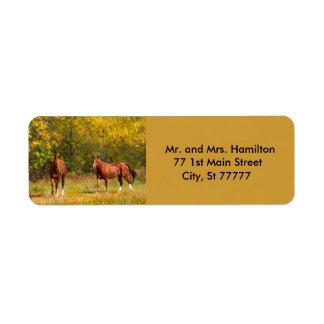 Two Autumn Chestnut Horses Return Address Label