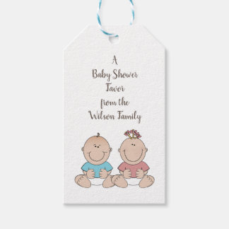 Two Babies Gender Reveal Shower Favour Tags