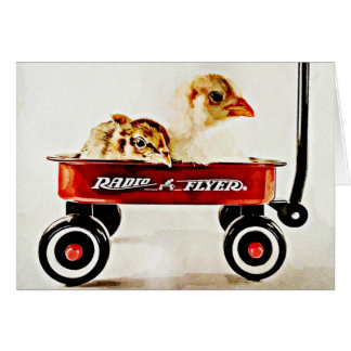 Two Baby Chicks in Red Wagon Card