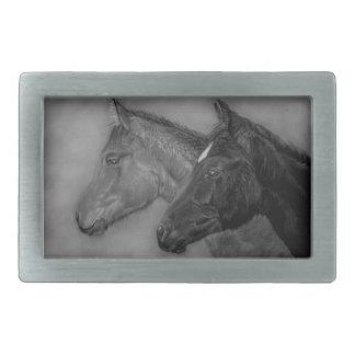 Two baby horses black foal chestnut foal portrait belt buckles