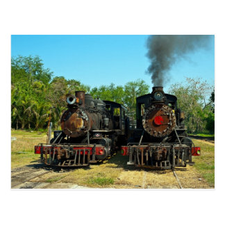 Two Baldwin steam locomotives Postcard