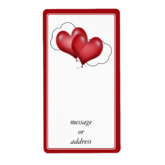 Two Balloon Hearts With Cloud Personalized Shipping Labels