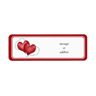 Two Balloon Hearts With Cloud Return Address Label