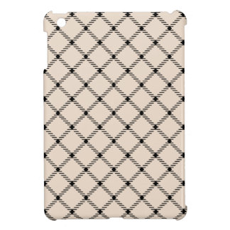 Two Bands Small Diamond - Black on Almond iPad Mini Covers