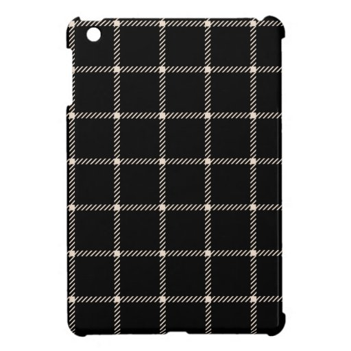Two Bands Small Square - Almond on Black iPad Mini Cases