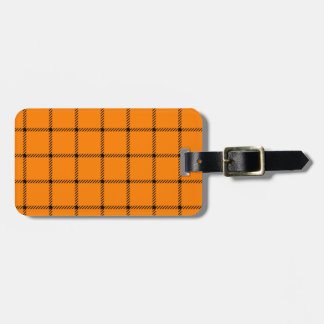 Two Bands Small Square - Black on Orange Luggage Tag