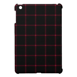 Two Bands Small Square - Burgundy on Black iPad Mini Cases