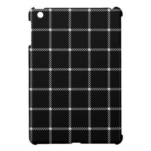 Two Bands Small Square - Light Gray on Black Case For The iPad Mini