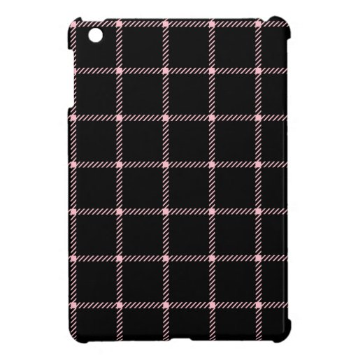 Two Bands Small Square - Pink on Black iPad Mini Case