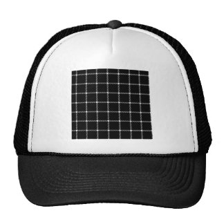 Two Bands Small Square - White on Black Trucker Hat