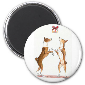 Two Basenji's Dancing Dog Art Magnet