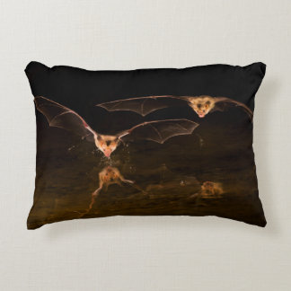 Two bats flying over water, Arizona Decorative Pillow