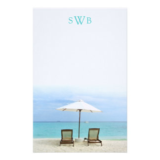 Two Beach Chairs Blank Monogrammed Writing Paper