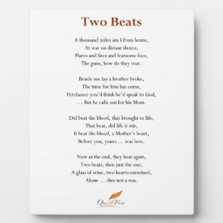 Two Beats Poem Plaque