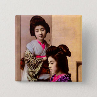 Two Beautiful Geisha Posing in Old Japan Vintage 2 Inch Square Button
