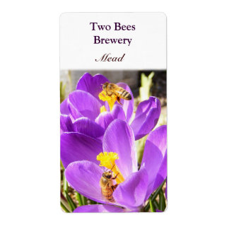 Two Bees ~ Mead Beer Label Shipping Label