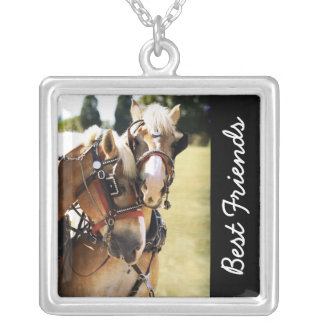 Two Belgian Draft Horses Silver Plated Necklace
