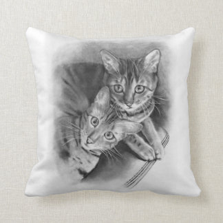 Two Bengal Cats: Original Realism Pencil Drawing Throw Pillow