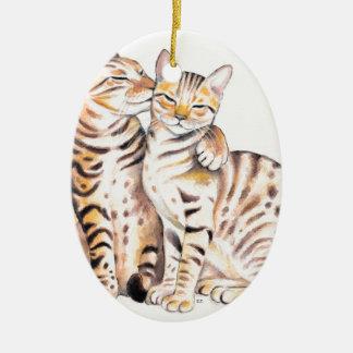 Two Bengal Cats Watercolor Art Ceramic Ornament