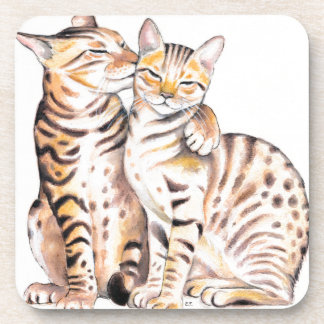 Two Bengal Cats Watercolor Art Coaster