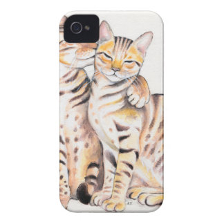 Two Bengal Cats Watercolor Art iPhone 4 Case