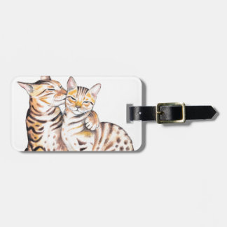 Two Bengal Cats Watercolor Art Luggage Tag