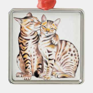 Two Bengal Cats Watercolor Art Metal Ornament