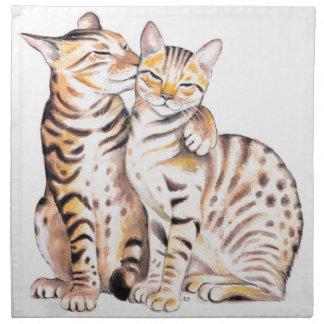 Two Bengal Cats Watercolor Art Napkin
