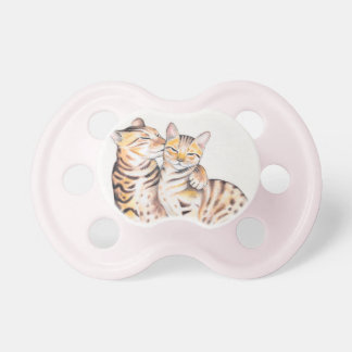 Two Bengal Cats Watercolor Art Pacifier
