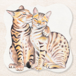 Two Bengal Cats Watercolor Art Paper Coaster