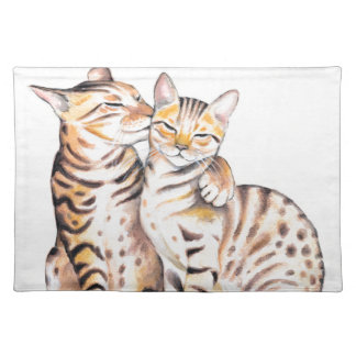Two Bengal Cats Watercolor Art Placemat