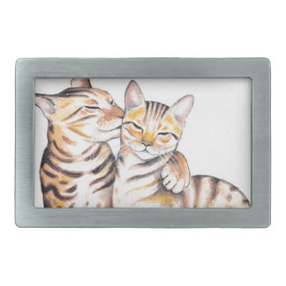 Two Bengal Cats Watercolor Art Rectangular Belt Buckle
