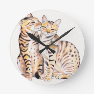 Two Bengal Cats Watercolor Art Round Clock