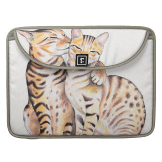 Two Bengal Cats Watercolor Art Sleeve For MacBook Pro