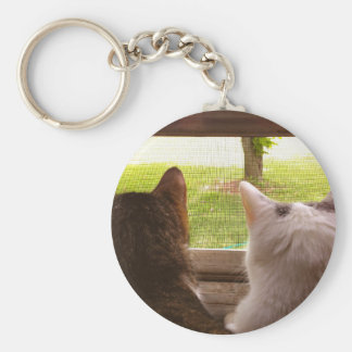 Two BFF Cats Gazing Out of The Window Key Chain