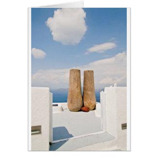 Two big pots on Santorini island Card