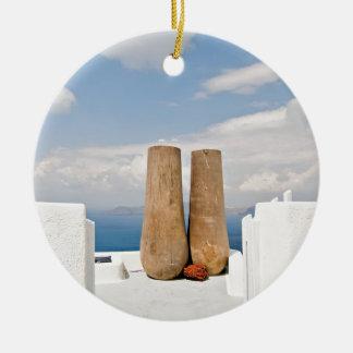 Two big pots on Santorini island Ceramic Ornament