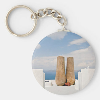 Two big pots on Santorini island Keychain