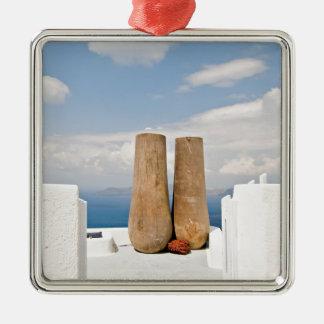 Two big pots on Santorini island Metal Ornament
