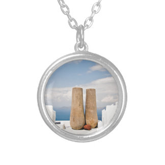 Two big pots on Santorini island Silver Plated Necklace