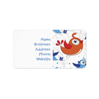 Two Bird Lovers Orange and Blue  Pattern