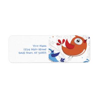 Two Bird Lovers Orange and Blue  Pattern Return Address Label