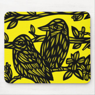 Two Birds Black Yellow Mouse Pad