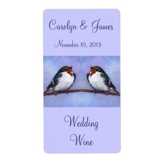 Two Birds On Branch: Wedding Wine: Oil Pastel Art
