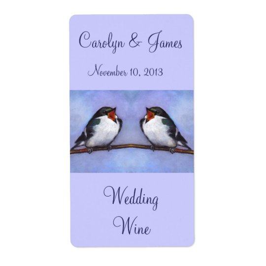 Two Birds On Branch: Wedding Wine: Oil Pastel Art Shipping Label