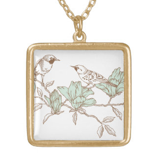 Two birds on celestial flowers, Engraving Gold Plated Necklace