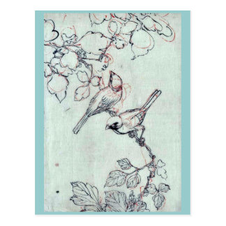 Two birds perched on grapevines Ukiyoe Postcard